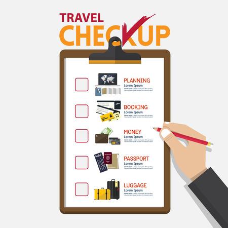 El concepto de infografía para la planificación de los viajes a bordo de chequeo en el diseño plano. Ilustración de vector