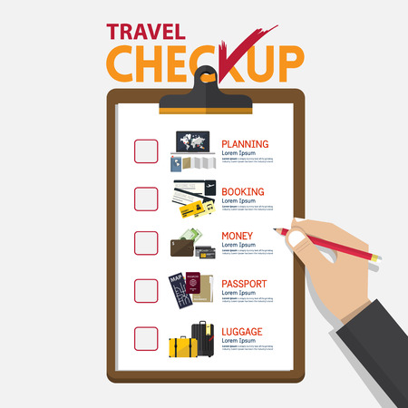 checklist icon: The concept of infographic for travel planning on checkup board in flat design.