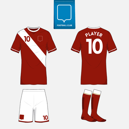 white uniform: Set of soccer or football kit template for your sport club.