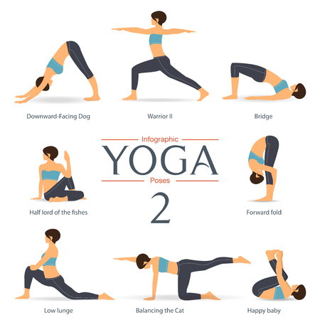 Set of yoga poses in flat design . Yoga infographics. Vector Illustration. Vectores