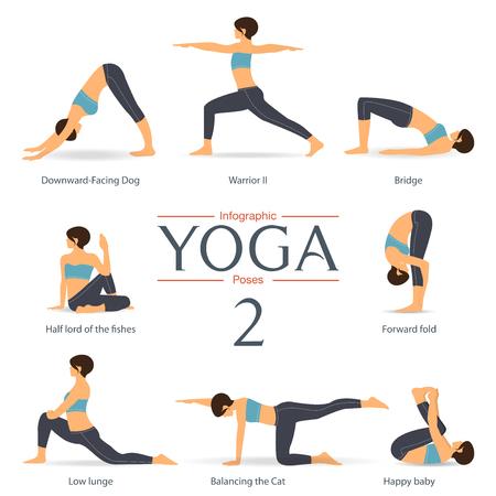 Set of yoga poses in flat design . Yoga infographics. Vector Illustration. Illustration