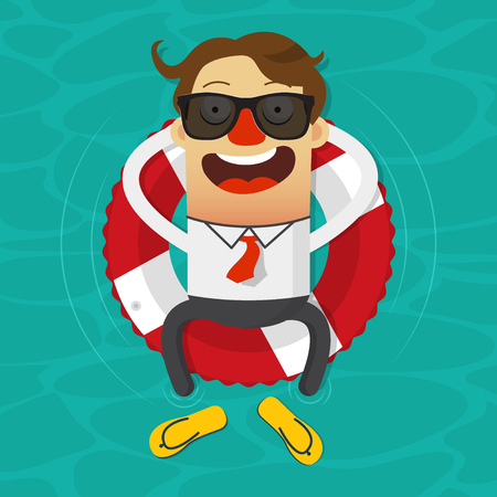 business time: Cartoon businessman relaxing in an inner tube on the tropical sea. Illustration