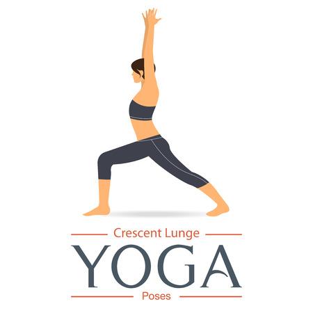 benefit: Crescent Lunge Pose. Yoga pose in flat design. Illustration