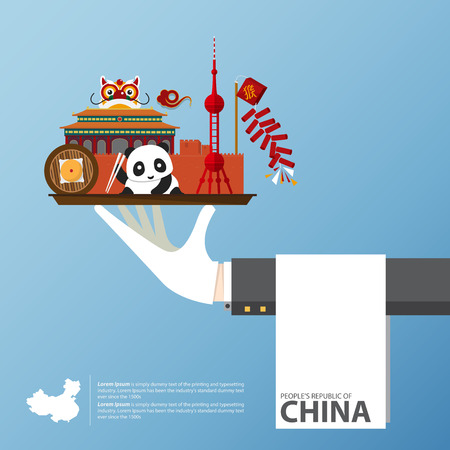 Travel to China infographic. Set of flat icons of Chinese architecture, food, traditional symbols. Illustration