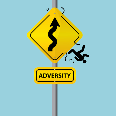 adversity: Flat design of business symbol on road sign. The concept of Adversity. Illustration