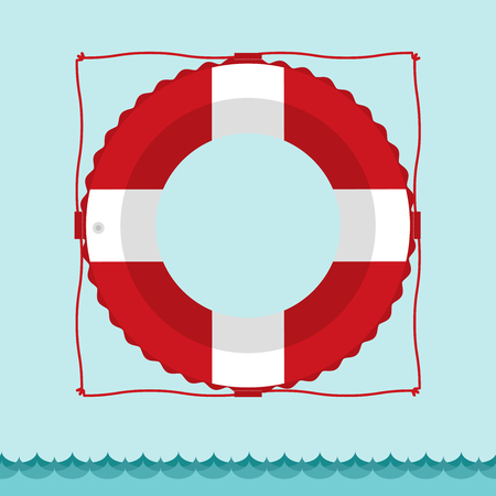 Lifebuoy icon in flat style with space for your Text. Illustration