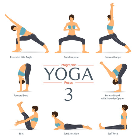 Jeu de poses de yoga en design plat. infographies Yoga. Illustration. Banque d'images - 54597753