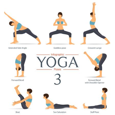 Set of yoga poses in flat design . Yoga infographics. Illustration.