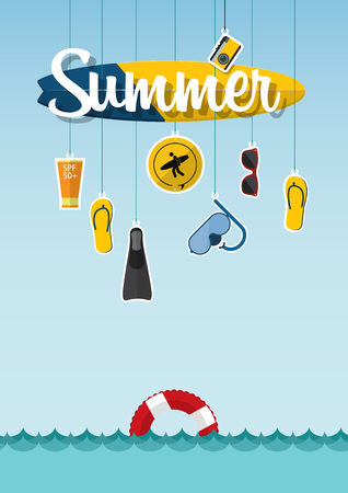 design objects: Typography of summer on the beach with icons set of travel in flat design. Summer holiday and seascape. Illustration Illustration