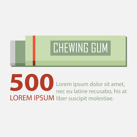 chewing: Chewing gum in flat design.