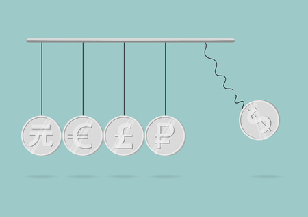 momentum: Flat icon design of currency symbol in newton cradle concept.  Illustration