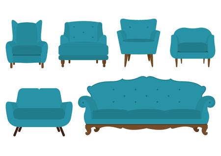 Zestaw fotel w płaskiej konstrukcji. Ilustracja
