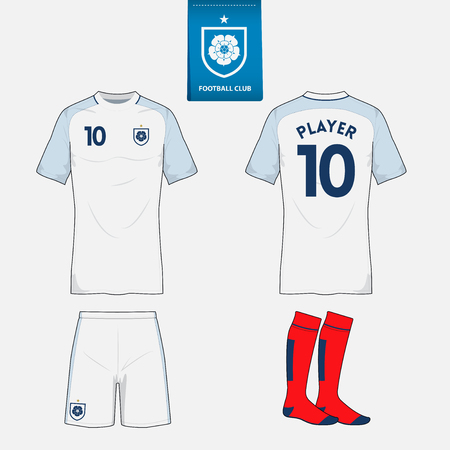 Set of soccer or football kit template for your sport club in retro style. Front and back view. Illustration