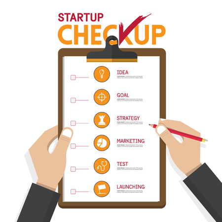 set goals: infographics of startup business checkup in flat design. Hand holding clipboard. Illustration