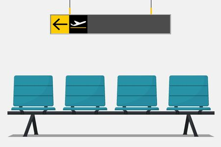 Blue airport seat in waiting area and wayfinding signage. Flat design. Illustration. Vector Illustration