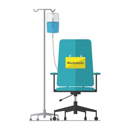 workaholic: Office chair for workaholic employee with saline bag. Flat design.