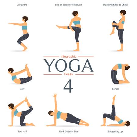 Conjunto de posturas de yoga en el diseño plano. infografía yoga. Ilustración.