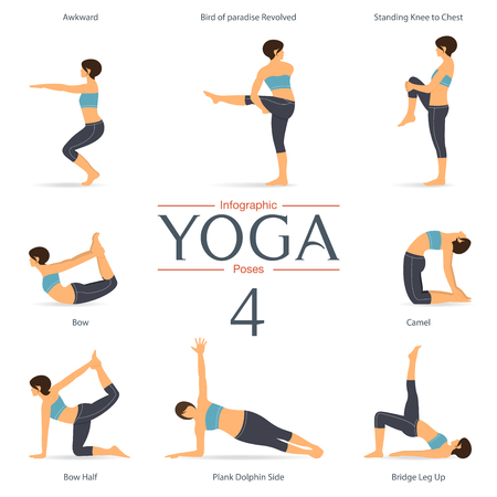 Set von Yoga-Posen in flacher Bauweise. Yoga Infografiken. Illustration.