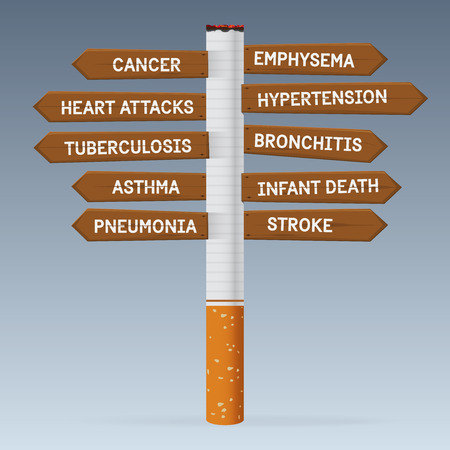 emphysema: World No Tobacco Day. Poison of cigarette on direction road sign.  Illustration.