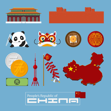 Set of flat icons of Chinese architecture, food, traditional symbols. Illustration. Illustration