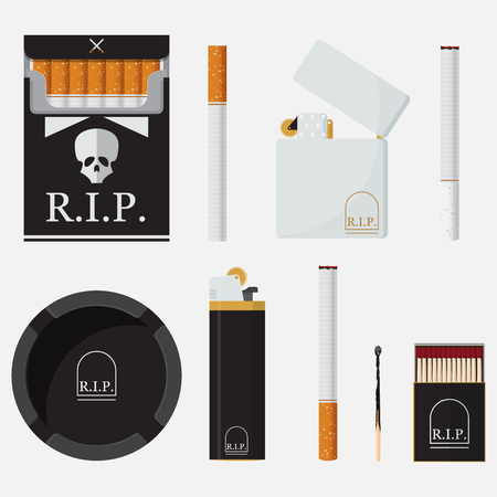 ashtray: Set of lighters, cigarettes, match and ashtray in flat design. Element for World No Tobacco Day.Illustration