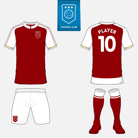 Set of soccer or football kit template for your sport club. Front and back view. Red and white.