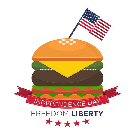 ground beef: Happy American independence day, United States flag on hamburger. Fourth of July, July 4th.
