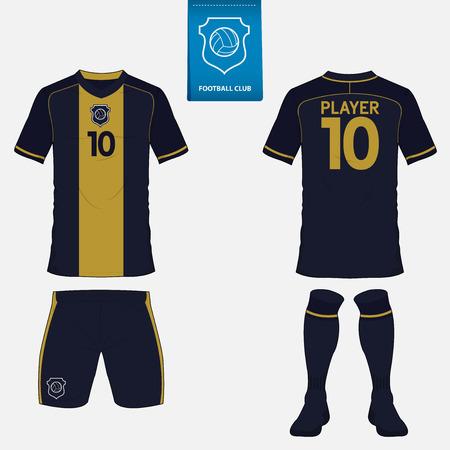 Conjunto de fútbol o fútbol plantilla de kit para su club de fútbol. Vista frontal y posterior. uniforme de fútbol. Ilustración de vector