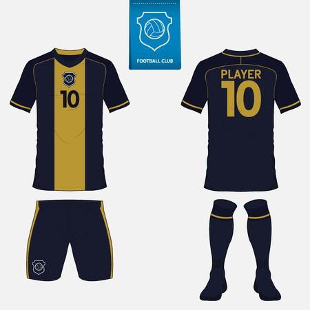 Set di calcio o di calcio modello di kit per la squadra di calcio. Vista anteriore e posteriore. uniforme di calcio. Archivio Fotografico - 57404454