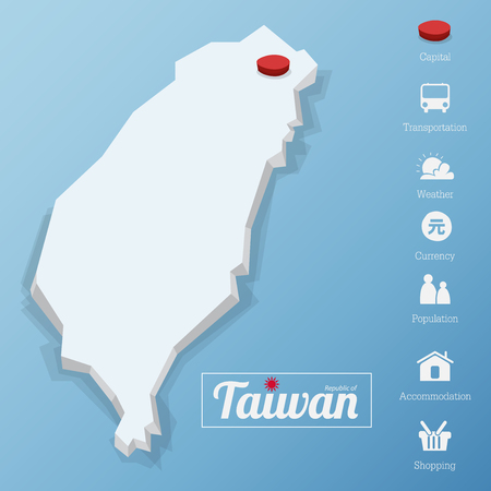 Republic of Taiwan map. Taipei city. Including tourism icon in flat design for modern infographic