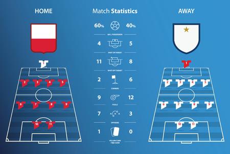 Calcio o di calcio statistiche sulla partita infografica. formazione di calcio. Design piatto. Illustrazione vettoriale.