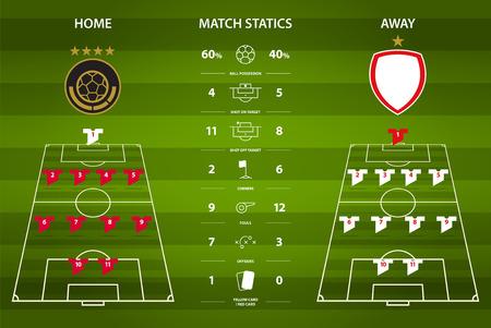 formation: Football or soccer match statistics infographic. Football formation. Flat design. Vector Illustration.