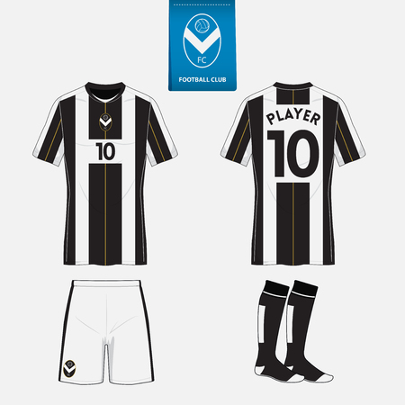 football jersey: Set of soccer kit or football jersey template for football club. Flat football logo on blue label. Front and back view. Football uniform. Vector Illustration