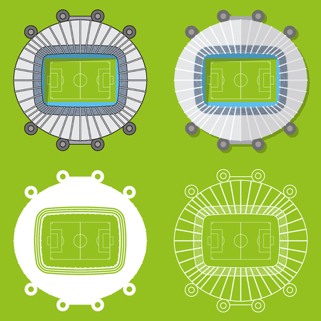 sports venue: Set of football stadiums or soccer arena. Sport venue in flat design. Football stadium top view. Vector Illustration.