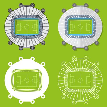 venue: Set of football stadiums or soccer arena. Sport venue in flat design. Football stadium top view. Vector Illustration.