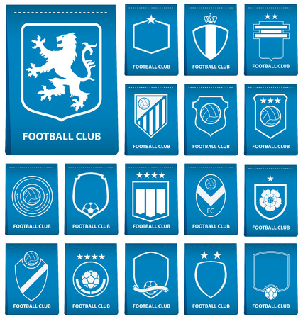 Set of football or soccer crest on blue tag in flat design. Football logo emblem. Football badge. Vector Illustration.