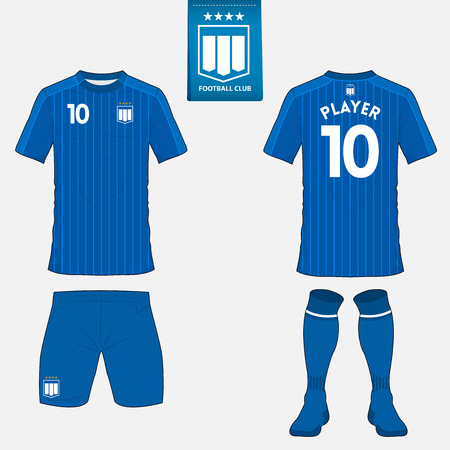football jersey: Set of soccer kit or football jersey template for football club. Flat football logo on blue label. Front and back view. Football apparel mock up. Vector Illustration