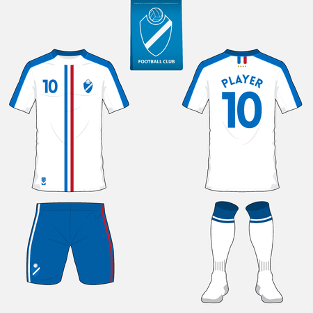 Set of soccer kit or football jersey template for football club. Flat football logo on blue label. Front and back view. Football apparel mock up. Vector Illustration