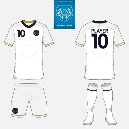 Conjunto de juego de fútbol o plantilla de camiseta de fútbol para el club de fútbol. logotipo del fútbol plana en la etiqueta azul. Vista frontal y posterior. ropa de fútbol maqueta. Ilustración del vector