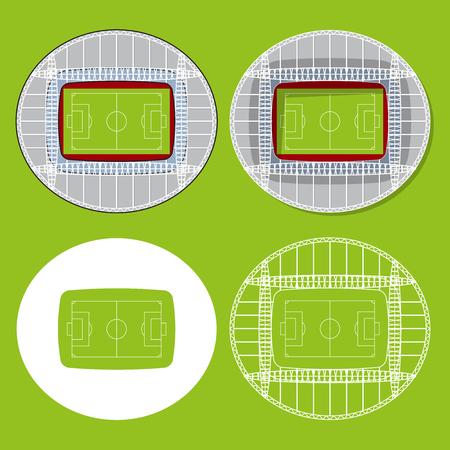 Set van voetbalstadions of soccer arena. Voetbal venue pictogrammen in plat design. Voetbalstadion bovenaanzicht. Vector Illustratie.