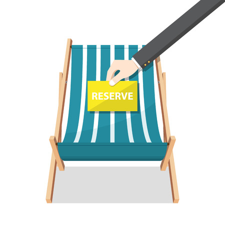 Summer beach chair on isolated background and businessman hand holding paper. Wooden seat in flat design. Vector Illustration