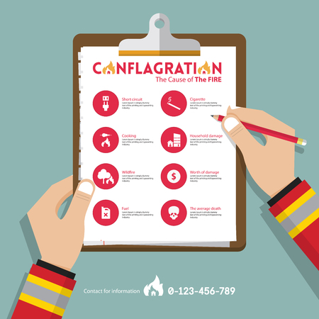 fire damage: infographics of conflagration report data in flat design. Icon set for property or real estate insurance. Hand holding clipboard. Vector Illustration