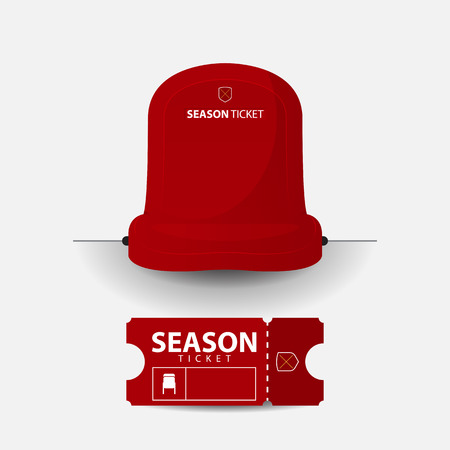 grandstand: Football or soccer chair icon. Red plastic seat on sport stadium in flat design. Football ticket card template design. Sport event. Vector Illustration