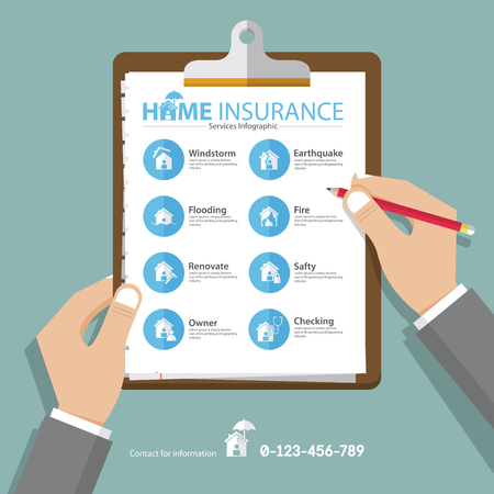 Infographics of home or real estate insurance report  in flat design. Hand holding clipboard. Vector Illustration