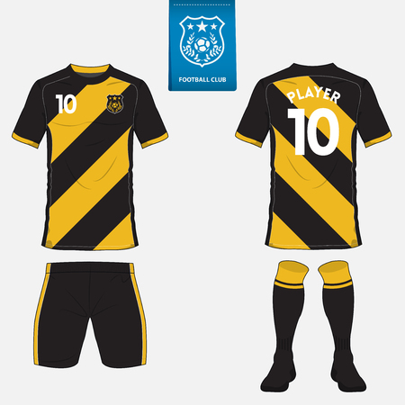 football jersey: Set of soccer kit or football jersey template for football club. Flat football  on blue label. Front and back view. Football apparel mock up. Vector Illustration Illustration