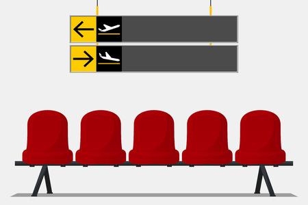 siège de l'aéroport rouge dans la zone d'attente et panneaux d'orientation. Design plat. Vector Illustration.