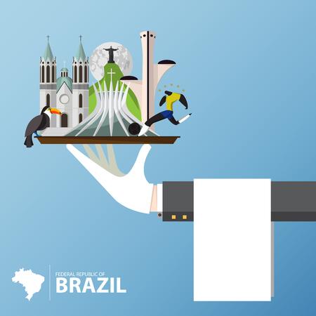 illustration journey: Set of Brazil Landmark icon. Travel and journey Infographic vector design template. Vector Illustration Illustration