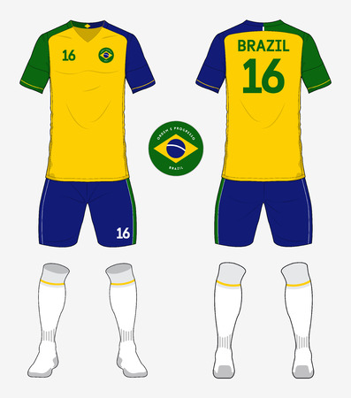 soccer uniform: Set of Brazil soccer kit or football jersey template for football club. Front and back view soccer uniform. Football apparel mock up. Vector Illustration