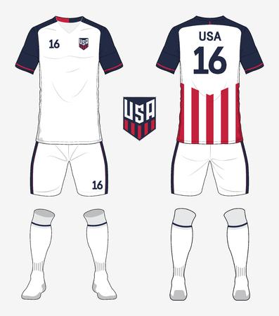 Conjunto de kit de fútbol de los Estados Unidos de América o plantilla de camiseta de fútbol para el club de fútbol. Vista frontal y posterior uniforme de fútbol. Ropa de fútbol simulacro. Ilustración vectorial Ilustración de vector
