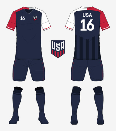 Set van de Verenigde Staten van Amerika voetbal kit of voetbal shirt sjabloon voor voetbalclub. Voor- en achterkant weergave voetbal uniform. Voetbalkleding mock-up. vector Illustration